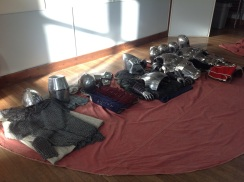 KS3 Medieval Life - Armour set up for students to try on